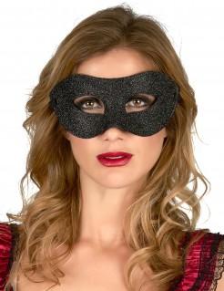 Glitter-Augenmaske schwarz
