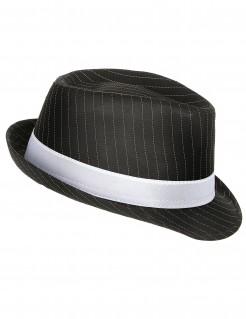 Gangster-Hut mit Nadelstreifen schwarz-weiss