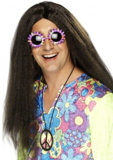 Hippie Perücke Karneval braun