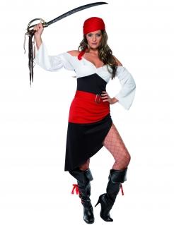 Piratin-Kostüm für Damen in schwarz-weiss-rot