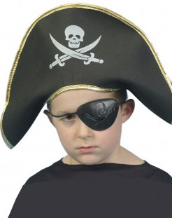 Piratenkapitän Kinder-Hut schwarz-gold
