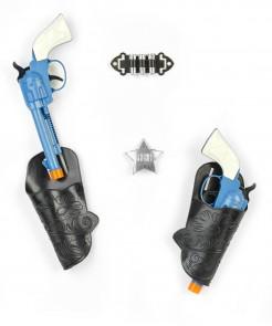 Revolver Set Kostüm-Zubehör schwarz-grau