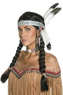 Indianer Perücke Federn schwarz