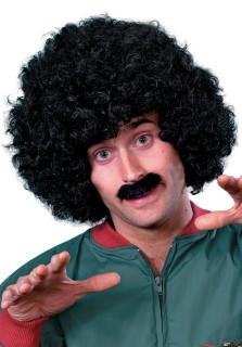 Afro-Perücke mit Schnauzer schwarz