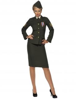 Militär Offizierin Kostüm grün