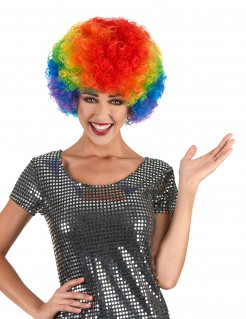 Afro-Perücke Lockenkopf regenbogen
