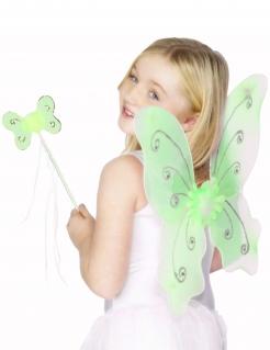 Schmetterlingsflügel mit Zauberstab für Kinder grün