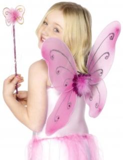 Schmetterlingsflügel mit Zauberstab rosa