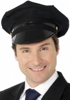 Chauffeur Mütze Karneval-Zubehör schwarz