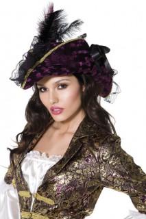 Piratenhut mit Feder Kostümzubehör lila-gold