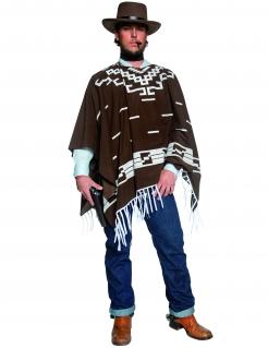Cowboy Kostüm Poncho braun-weiss