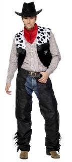 Cowboy Kostüm-Set Western schwarz-weiss-rot