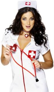 Stethoskop mit Herz Krankenschwester rot-weiss