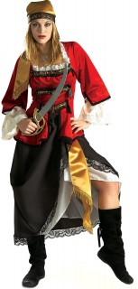 Piratenkönigin Seeräuberin Damenkostüm Deluxe rot-schwarz-weiss