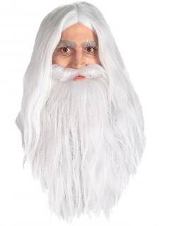 Gandalf aus Herr der Ringe - Herren-Perücke mit Bart weiß