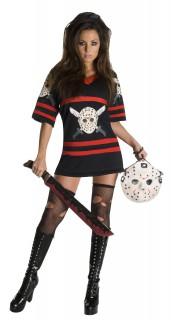 Freitag der 13.™ Miss Voorhees-Damenkostüm Halloweenkostüm schwarz-rot-weiss