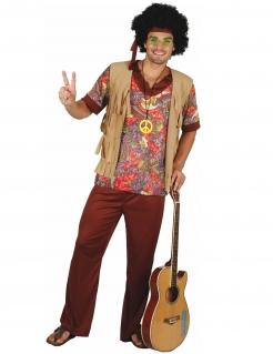 Hippie-Herrenkostüm mit Weste beige-rot-bunt