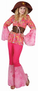 60er Jahre Hippie Kostüm für Damen rosa