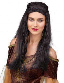 Mittelalter Damenperücke Burgfräulein schwarz