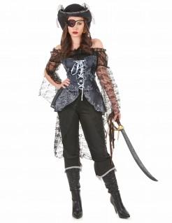 Edles Piratenkapitänin Damenkostüm schwarz-grau
