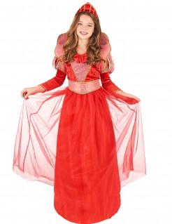 Königin-Mädchenkostüm Märchenkönigin rot-rosa-gold