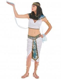 ägypterin Pharaonin-Damenkostüm weiss-gold-blau