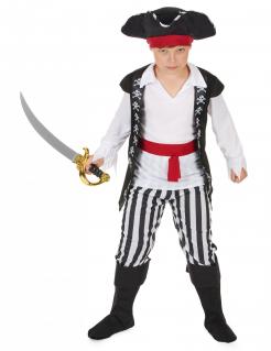 Verwegener Pirat Kinderkostüm Seeräuber schwarz-weiss