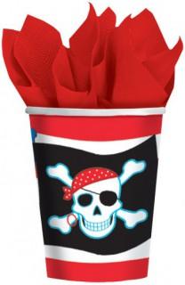 Piraten Becher Party-Deko 8 Stück schwarz-rot-weiss 266ml