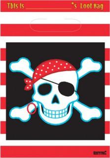 Piraten Party Beute Tüte 8 Stück rot-weiss-schwarz 33x18x0,13cm