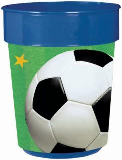 Fussball Fan-Becher blau-weiss-grün 400ml