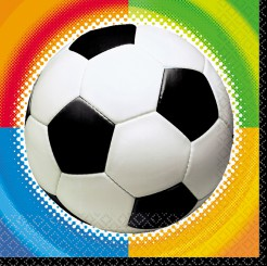 Fussball-Servietten-Set 16 Stück weiss-schwarz-bunt