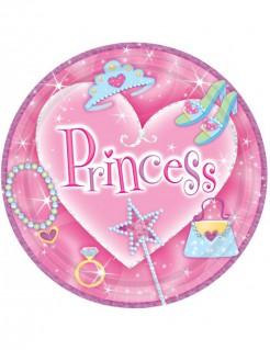 Prinzessin Teller Party-Deko 8 Stück pink-bunt 23cm