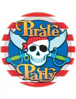 Piraten Party Pappteller 8 Stück bunt 22,8cm