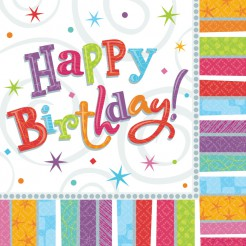 Happy Birthday Servietten Geburtstag Party-Deko 16 Stück bunt 33x33cm
