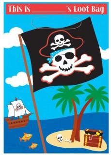 Piraten Party Taschen Party-Zubehör 8 Stück bunt 16,5x25cm
