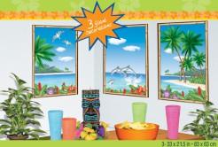 Hawaii Fenster Wanddeko 3 Stück bunt 85x54cm