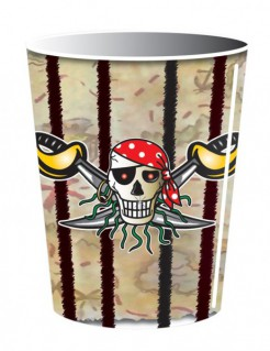 Totenschädel Pappbecher Piratenparty Halloween 8 Stück bunt 250ml
