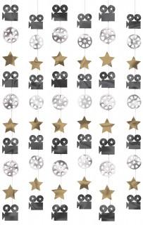 Hollywood Filmset Hängedeko 6 Stück schwarz-gold-silber