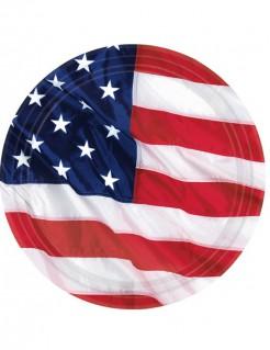 Amerika-Teller Länder-Tischdeko 8 Stück blau-weiss-rot 27cm