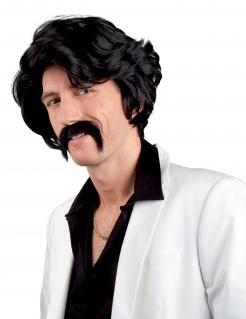 Gewellte Herrenperücke mit Schnauzbart 70er-Kostümzubehör schwarz
