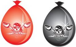Totenschädel Luftballons Piratenparty Halloween 8 Stück rot-schwarz 30cm