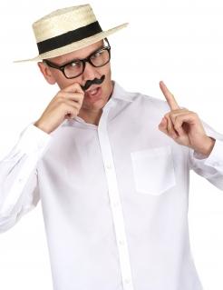 Stroh-Hut Kostüm-Zubehör creme-schwarz