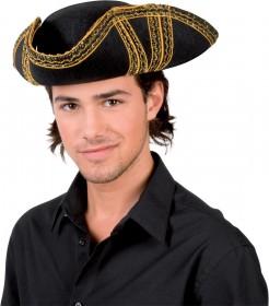 Piratenhut für Erwachsene schwarz-gold