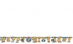 Piraten Party Happy Birthday Banner bunt 210x17,7cm