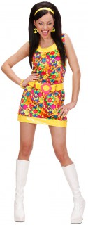 70er Disco-Kleid Damenkostüm Hippie gelb-bunt