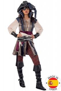 Piraten Kapitänin Deluxe Damenkostüm silber-rot