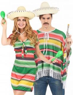 Mexikaner-Paarkostüm für Erwachsene grün-bunt