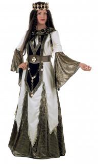 Mittelalter Königin Deluxe Damenkostüm silber-weiss