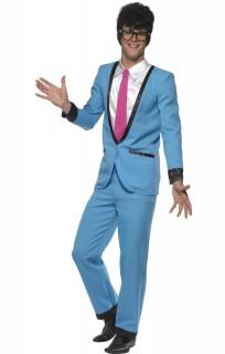50er-Jahre-Herrenanzug 50er-Kostüm Showmaster blau-weiss-pink