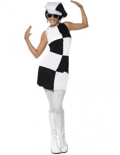 Kostüm 80er Jahre Disco für Damen schwarz-weiss